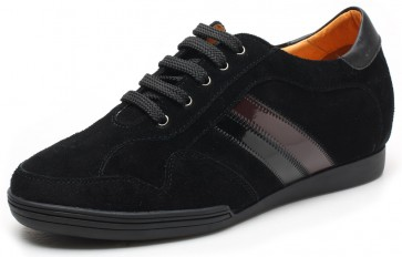 6.5cm Centro - Height Increase Elevator Trainers Black Shoes