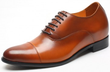 7cm Kensington - Height Increase Brown Leather Shoes