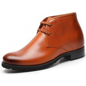 7.5cm Kingston - Brown leather height increase elevator boots