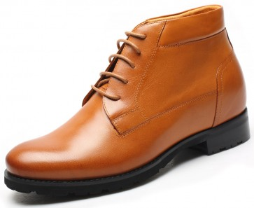 7.5cm Rutlands - Brown Leather Height Increase Elevator Boots