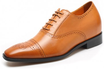 7cm Brogues - Brown leather height increase elevator shoes