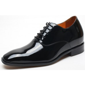 7cm Patents - Height Increase Shoes Black Leather Formal Elevator Shoe