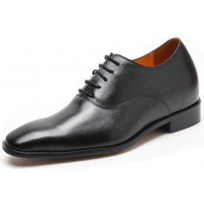 7cm Oxford - Black leather height increase elevator shoes